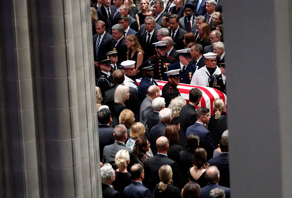 . The casket of Sen. John McCain, R-Ariz., arrives at the Washington National Cathedral in Washington, Saturday, Sept. 1, 2018, for a memorial service. McCain died Aug. 25, from brain cancer at age 81. (AP Photo/Pablo Martinez Monsivais)