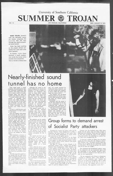 Summer Trojan, Vol. 62, No. 13, August 19, 1970