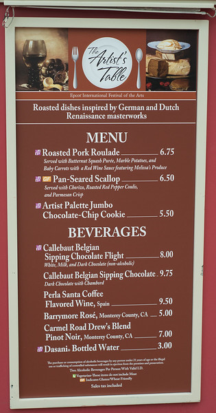 Epcot International Festival of the Arts - The Artist's Table Menu - Magic Kingdom Walt Disney World