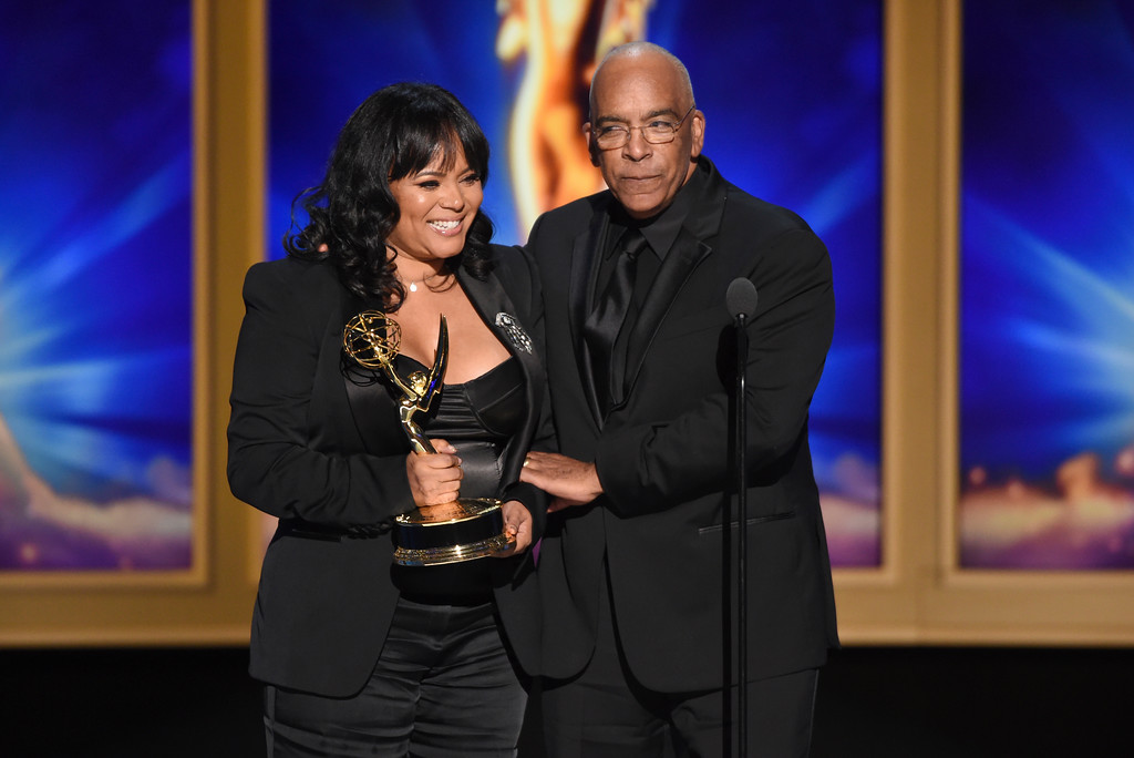 ". Rikki Hughes, left, and Stan Lathan accept the award for outstanding variety special (pre-recorded) for ""Dave Chappelle: Equanimity\"" during night two of the Television Academy\'s 2018 Creative Arts Emmy Awards at the Microsoft Theater on Sunday, Sept. 9, 2018, in Los Angeles. (Photo by Phil McCarten/Invision/AP)"