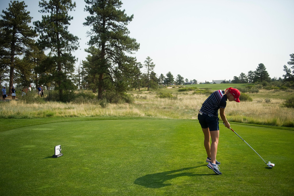 . PARKER, CO - AUGUST 16: American Jessica Korda tees off on the hole ninth hole during the first day of the Solheim Cup at Colorado Golf Club, on August 16, 2013.  (Photo By Grant Hindsley/The Denver Post)