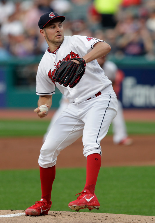 . Cleveland Indians starting pitcher Trevor Bauer delivers in the first inning of a baseball game against the Minnesota Twins, Monday, Aug. 6, 2018, in Cleveland. (AP Photo/Tony Dejak)