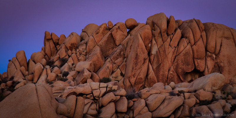 Twilight sky colors just after sunset at Jumbo Rocks, Joshua Tree National Park