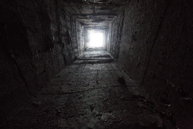 The view up the chimney of the poison gas storage facility