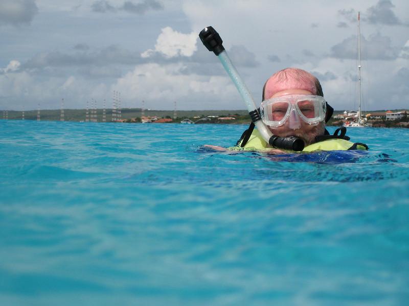 A shot of David snorkeling.