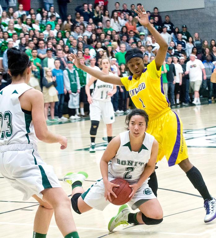 . Bonita vs Lynwood CIF-SS Divisions 2AA girls basketball semifinals at Bonita High School in La Verne on Tuesday evening, Feb. 26, 2013. (SGVN/Staff photo by Watchara Phomicinda)