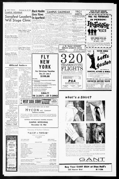 Daily Trojan, Vol. 55, No. 42, November 20, 1963