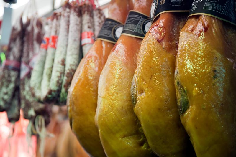 Ham and sausage, Boqueria market, Town of Barcelona, autonomous commnunity of Catalonia, northeastern Spain