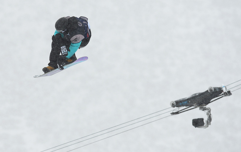 . Brandon Davis from Mommoth Lakes is in action during the men\'s slope style final of the Burton U.S. Open. Vail, Colorado. March 7. 2014. (Photo by Hyoung Chang/The Denver Post)