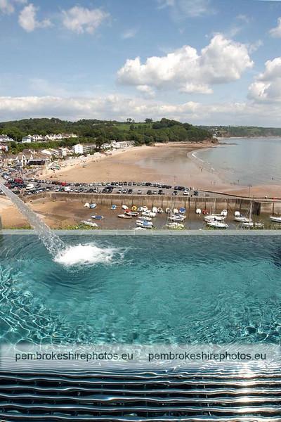 Infinity pool, overlooking Saundersfoot beach.