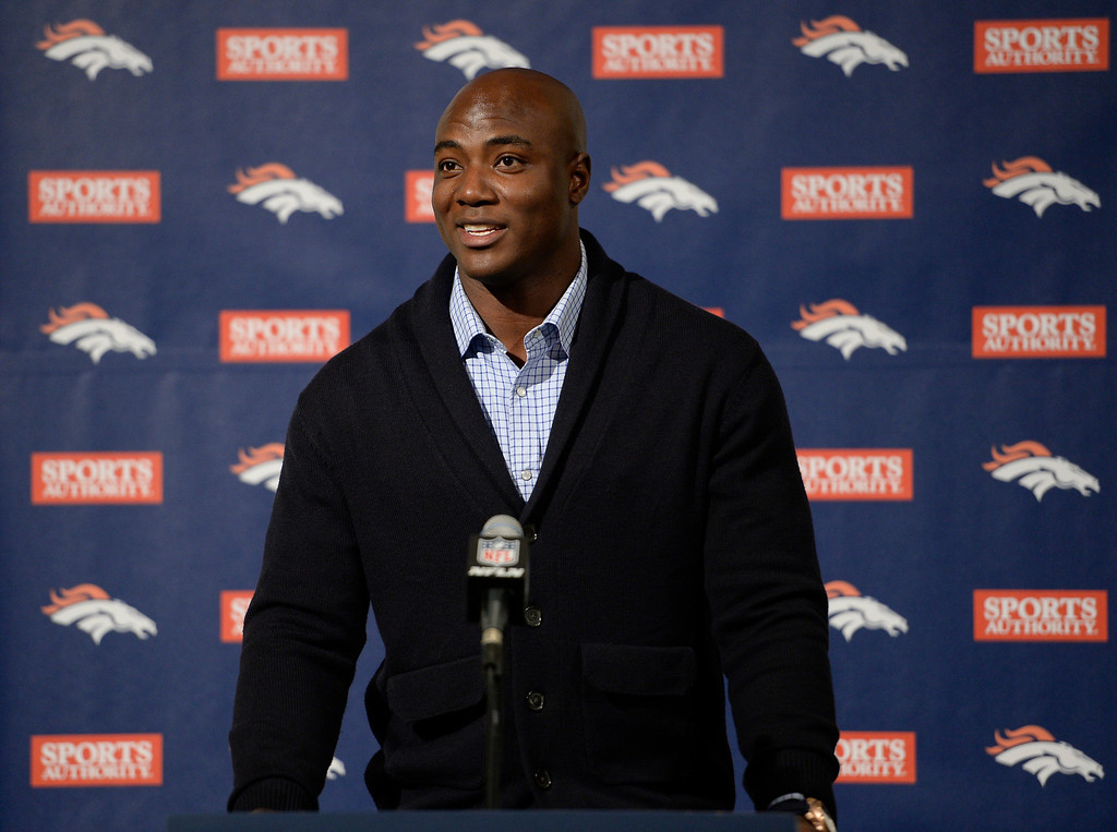 . DeMarcus Ware, Broncos agree on three-year, $30 million deal March 12, 2013 addresses the media during a press conference at Dove valley. (Photo by John Leyba/The Denver Post)