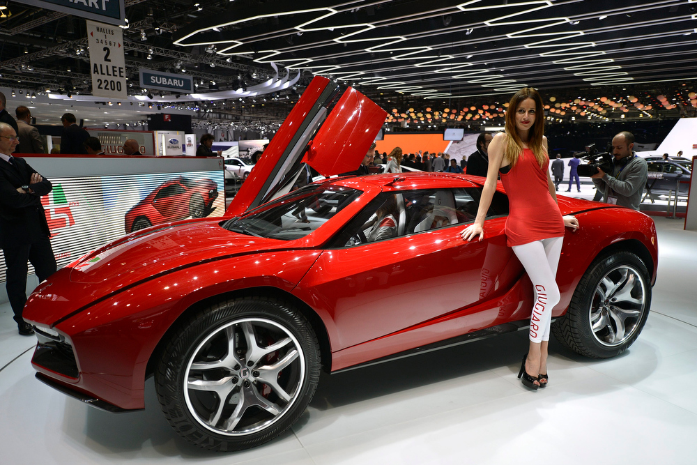 . The new Italdesign-Giugiaro Prototype is shown during the press day at the 83rd Geneva International Motor Show in Geneva, Switzerland, Tuesday, March 5, 2013. The Motor Show will open its gates to the public from 7th to 17th March presenting more than 260 exhibitors and more than 130 world and European premieres. (AP Photo/Keystone, Martial Trezzini)