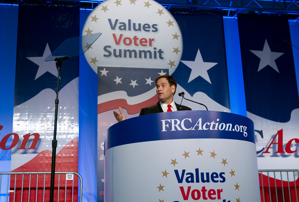 . Sen. Marco Rubio R-Fla. speaks during the Values Voter Summit, held by the Family Research Council Action, Friday, Oct. 11, 2013, in Washington. ( AP Photo/Jose Luis Magana)