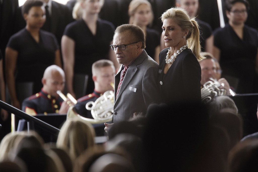 . Larry King and his wife Shawn King arrive for funeral services being held for former first lady Nancy Reagan at the Ronald Reagan Presidential Library March 11, 2016 in Simi Valley. Mrs Reagan will be buried next to her husband on the property. (Photo by Irfan Khan-Pool/Getty Images)