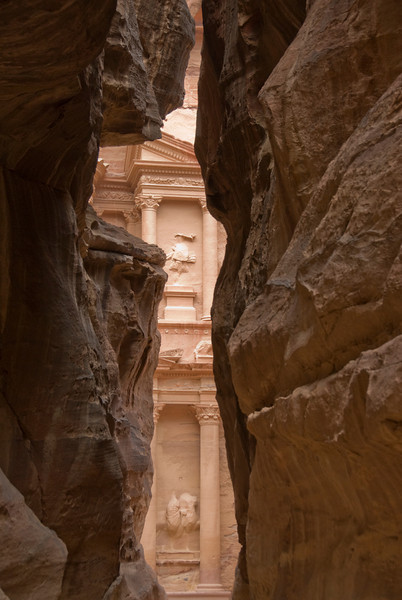 View of The Treasury from Siq in Petra, Jordan