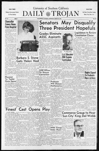 Daily Trojan, Vol. 55, No. 85, March 18, 1964