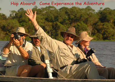 Roger Moore, Laurie Moore, John Millar & Carl Deal on the Amazon River in Brazil