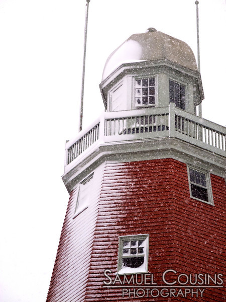 Snow building up on the Portland Observatory