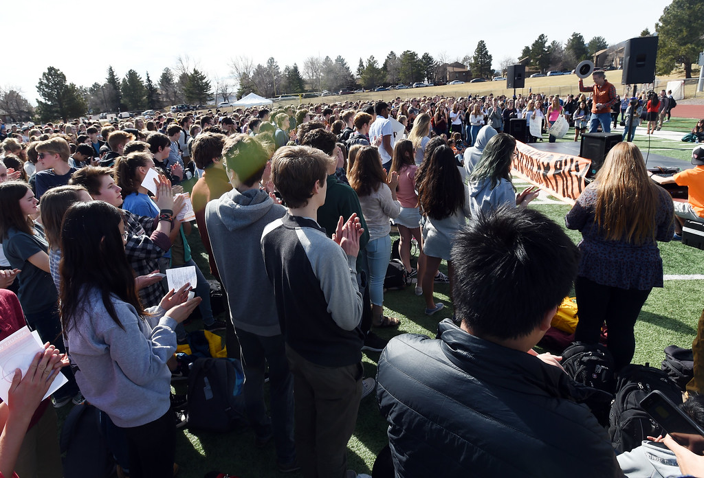 . Hundreds of students walk out of school to attend a rally at Fairview High School in Boulder. Students at schools across Boulder County and Broomfield walked out of class around 10 this morning as they took part in the nationwide protest of gun violence on the one-month anniversary of the massacre at a high school in Parkland, Fla., that left 17 dead. Cliff Grassmick  Photographer  March 14, 2018