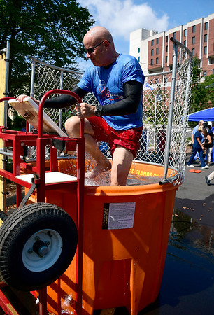 9/6/2018 Mike Orazzi | Staff Bristol Hospital President and CEO Kurt Barwis while in the dunk tank during an employee fundraising campaign called the &quote;Operation ERgency&quote; campaign to raise funds for our Emergency Center Thursday in Bristol.