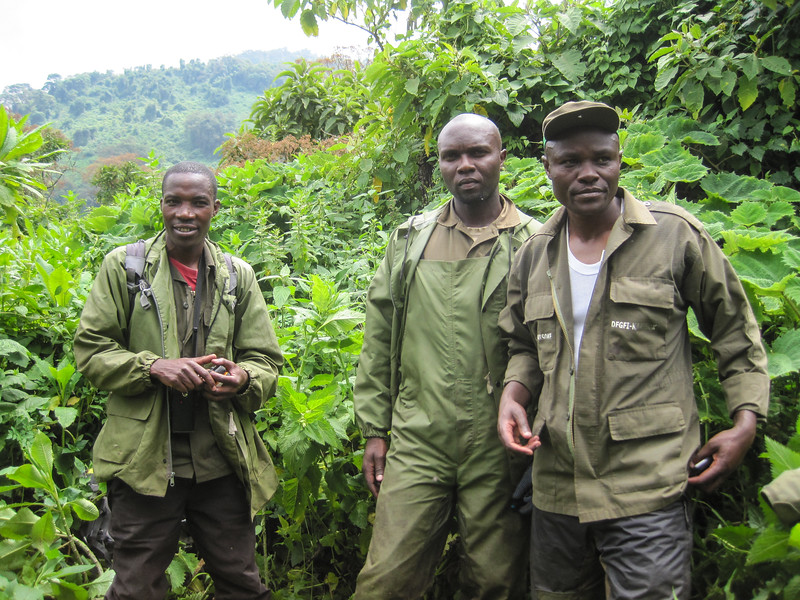 Gorilla trackers – these guys stay out with the group all day