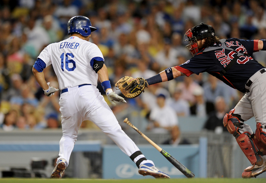 . Dodgers Andre Ethier tries to avoid the tag by Red Sox catcher Jarrod Saltalamacchia after striking out, Friday, August 23, 2013. (Michael Owen Baker/L.A. Daily News)
