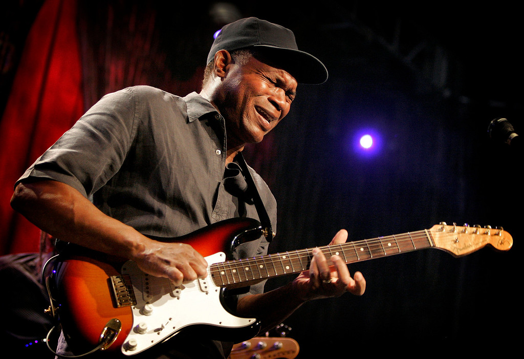 """. Blues icon Robert Cray performs with his signature Fender Stratocaster at a concert in Anaheim, Calif. on Saturday, Jan. 17, 2009. He says, \""""I use the Stratocaster because it has the sound I\'m looking for and then some. It\'s surprising what sounds and tones comes out of the Stratocaster. It is such a simply built guitar, it\'s a workhorse.\"""" (AP Photo/Matt York)"""