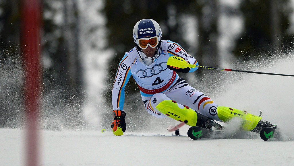 . BEAVER CREEK, CO - FEBRUARY 15: Fritz Dopfer of Germany competes in the first run of the Men\'s slalom during the FIS  Alpine World Ski Championships in Beaver Creek, CO. February 15, 2015. (Photo By Helen H. Richardson/The Denver Post)