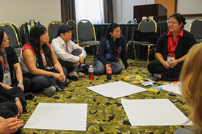 "The hands-on and interactive workshop ""Adoptees WIthout Birth Family: Why Are We Invisible"" led by Mirim Kim."