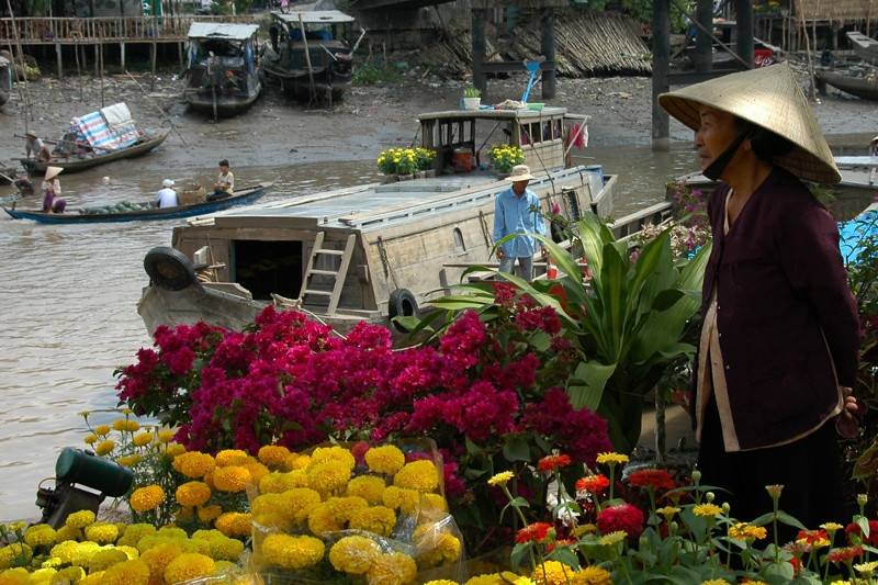 Flower Market at Cai Rang - Mekong Delta, Vietnam