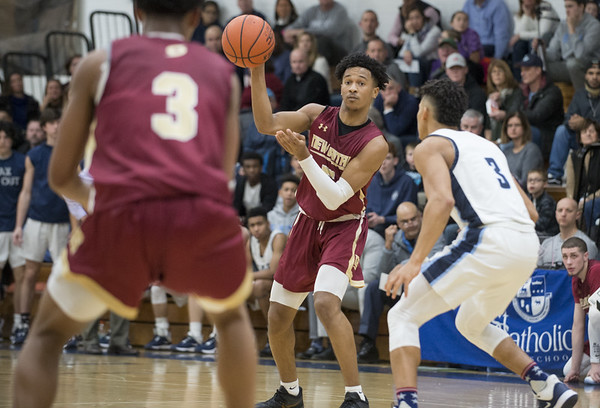 New Britain boys basketball was defeated at East Catholic on Friday night at East Catholic High School. Tahmeen Dupree (5). | Wesley Bunnell | Staff