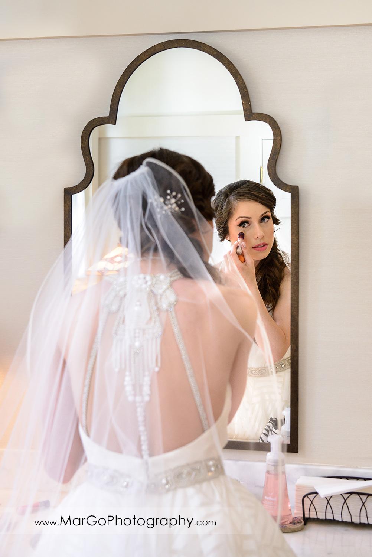 mirror shot of bridal makeup at Saratoga Foothill Club