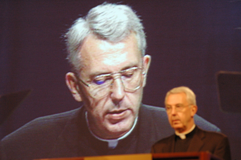 The video portion of Secretary Almen's report included clips of him (shown on screen) from his report from the 1991 Churchwide Assembly, also held at the Orlando World Center.