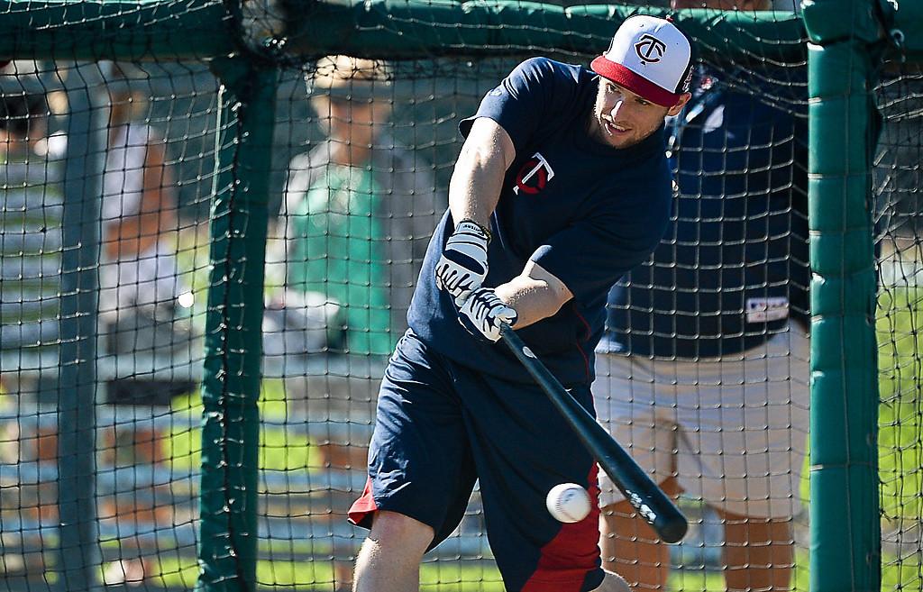 . Outfielder Alex Presley takes his hacks in the cage.. (Pioneer Press: Ben Garvin)