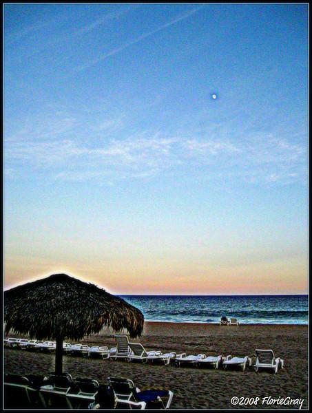 Moonrise at the Palapa; San Jose del Cabo, Baja California Sur, Mexico