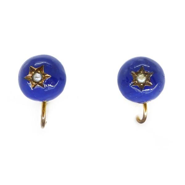ANTIQUE VICTORIAN ROYAL BLUE ENAMEL SILVER PEARL STAR SCREW BACK EARRINGS