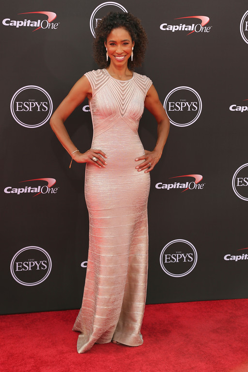 . Sage Steele arrives at the ESPY Awards at Microsoft Theater on Wednesday, July 18, 2018, in Los Angeles. (Photo by Willy Sanjuan/Invision/AP)