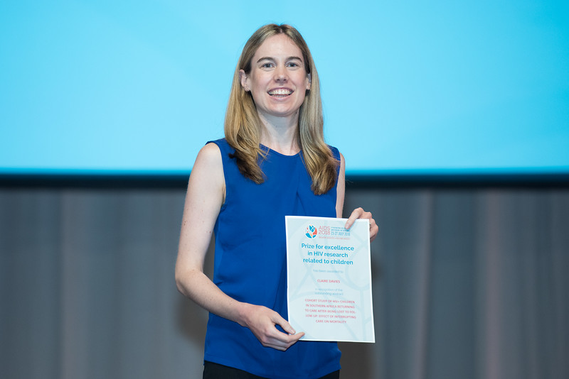 22nd International AIDS Conference (AIDS 2018) Amsterdam, Netherlands   Copyright: Marcus Rose/IAS  Photo shows: Plenary Session. Claire Davies with Prize for Excellence in HIV Research Related to Children