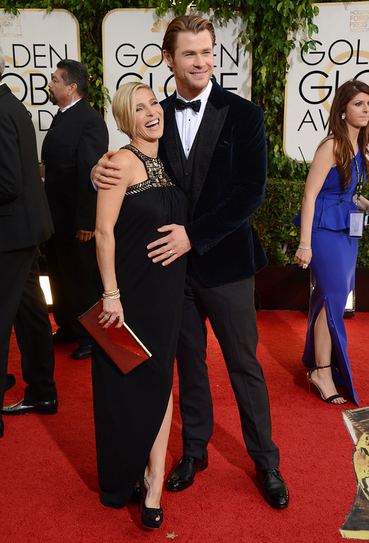 . Elsa Pataky, left, and Chris Hemsworth arrive at the 71st annual Golden Globe Awards at the Beverly Hilton Hotel on Sunday, Jan. 12, 2014, in Beverly Hills, Calif. (Photo by Jordan Strauss/Invision/AP)
