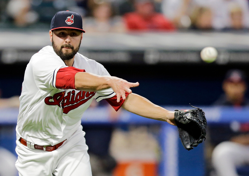 . Cleveland Indians relief pitcher Nick Goody throws out San Diego Padres\' Luis Torrens at first base in the sixth inning of a baseball game, Wednesday, July 5, 2017, in Cleveland. (AP Photo/Tony Dejak)