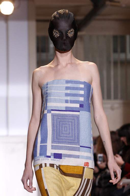. A model wears a creation for Maison Martin Margiela\'s Spring-Summer 2014 Haute Couture fashion collection presented in Paris, Wednesday, Jan.22, 2014. (AP Photo/Thibault Camus)