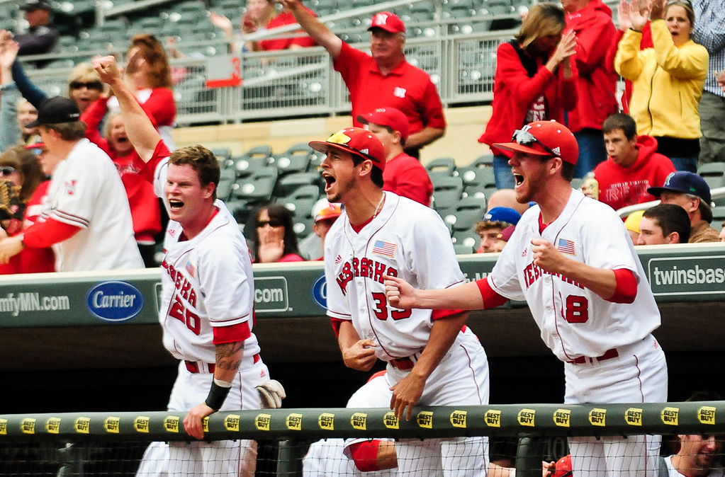 . Nebraska players react after second baseman Pat Kelly hit a three-run homer in the fourth inning. (Pioneer Press: Ben Garvin)