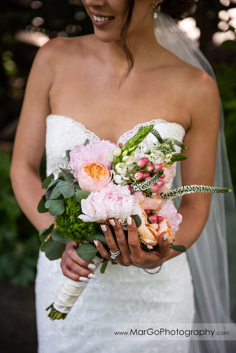 wedding bouquet in bride's hands at Piedmont Park