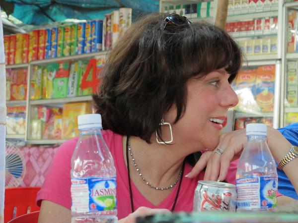 Susan Levin after a grueling hike through Angkor Wat in 90+ degrees, close to 100% humidity at Angkor Wat.