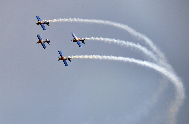 ". The ""Flying Bulls\"" considered one of the world\'s leading aerobatic display teams from the Czech Republic perform on the third day of Aero India 2013 at Yelahanka Air Force station in Bangalore on February 8, 2013.    India, the world\'s leading importer of weaponry, opened one of Asia\'s biggest aviation trade shows February 6 with Western suppliers eyeing lucrative deals and a Chinese delegation attending for the first time.  AFP/Manjunath KIRANManjunath Kiran/AFP/Getty Images"