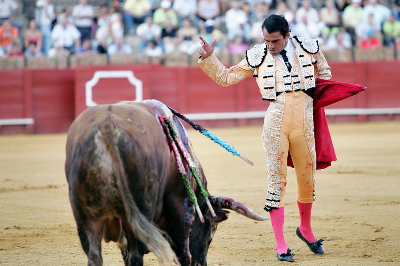The Spanish bullfighter Uceda Leal after having stabbed the bull. Bullfight at Real Maestranza bullring, Seville, Spain, 15 August 2006.