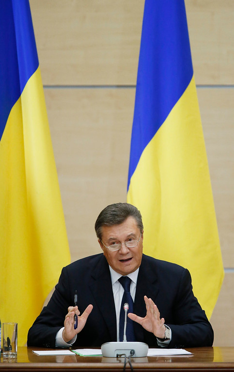 . Former Ukrainian president Viktor Yanukovych speaks during his press conference in Rostov, Russia 28 February 2014. Making his first public appearance since being ousted, he told the news confeence he would fight for his country and insisted he was\'not overthrown\'  EPA/YURI KOCHETKOV
