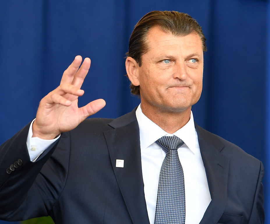 . National Baseball Hall of Fame inductee Trevor Hoffman, Is introduced during an induction ceremony at the Clark Sports Center on Sunday, July 29, 2018, in Cooperstown, N.Y. (AP Photo/Hans Pennink)