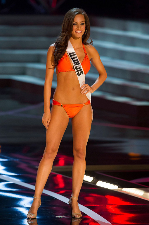 . Miss Illinois USA 2013, Stacie Juris, competes in her ViX Paula Hermanny swimsuit and Chinese Laundry shoes during the 2013 MISS USA Competition Preliminary Show at PH Live in Las Vegas, Nevada June 12, 2013.  She will compete for the title of Miss USA 2013 and the coveted Miss USA Diamond Nexus Crown LIVE on NBC starting at 9:00 PM ET on June 16th, 2013 from PH Live.   Picture taken June 12, 2013.  REUTERS/Darren Decker/Miss Universe Organization L.P., LLLP/Handout via Reuters
