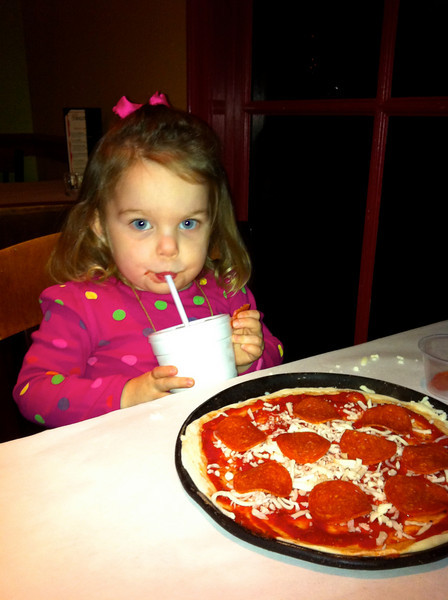 """We had a """"girl's night"""" while Brian was out of town at D'Angelo's, where Anna got to make her own pizza"""